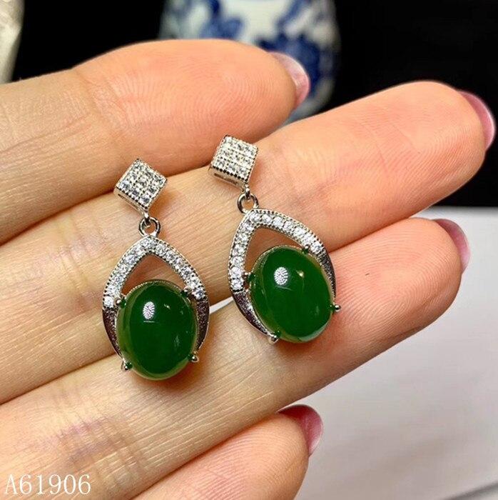 KJJEAXCMY bijoux fins 925 argent sterling incrusté jaspe naturel pierres précieuses femmes boucles d'oreilles soutien détection luxe