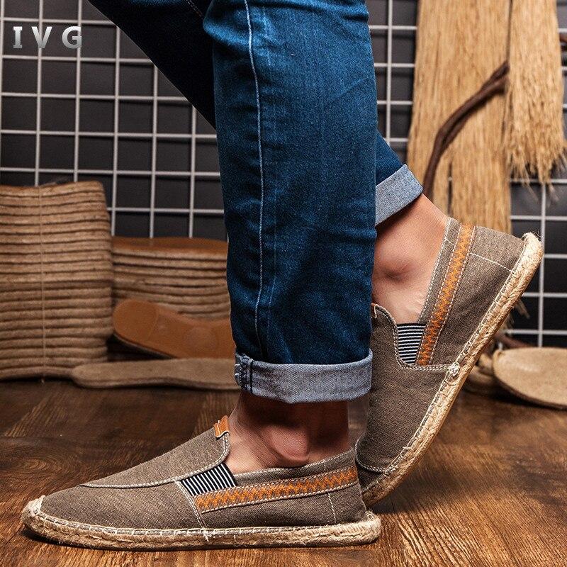 2018 fatti a mano di paglia di canapa tessuto di canapa scarpe semplice e confortevole appartamento pescatore scarpe size 35-45