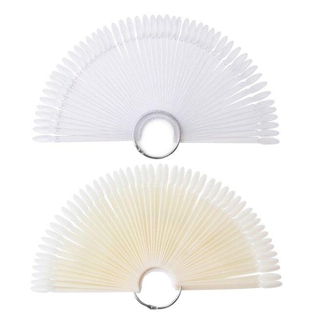 50pcs Nail Art Fan Shape Display Chart Gel Polish Coloring Sample Practice Training Nails With Removable Ring Nails Art Tool