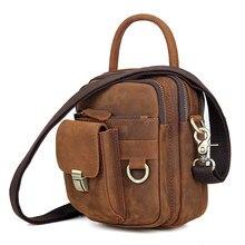 Men's Messenger Bags Genuine Leather Shoulder Bag for Man Business Brand Handbag Travel Mini Small Vintage  Male Crossbody Bags