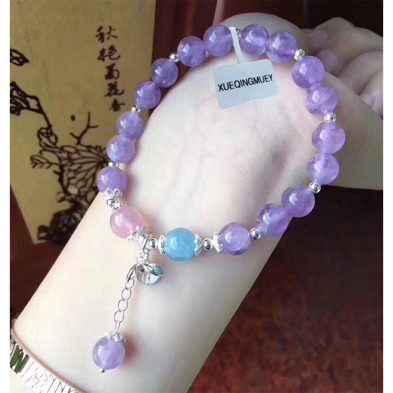 S925 sterling silver Crystal Amethysts womens Bracelet Natural Crystal Bracelets for women YY Fine jewelry bands Aquamarines