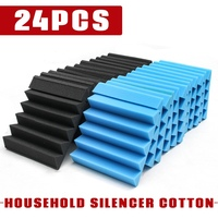 24Pcs Hot Black Blue 25x25X5cm Household Silencer Cotton Acoustic Wedge Studio Soundproofing Foam Wall Tiles For