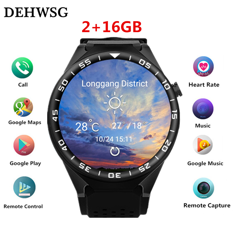 DEHWSG Bluetooth Smart Watch with Camera 2GB RAM 16GB ROM Support SIM Card 3G WIFI GPS Smartwatch for Android IOS Phone PK KW88 2017 new wearable devices smart watch q7 support max 32gb tf card android 5 1 3g wifi bluetooth for android pk kw88 smartwatch