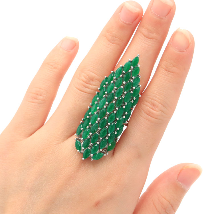 8.0# Deluxe Top AAA+ Big Heavy 14.1g Real Green Emerald Womans Wedding Silver Ring 56x19mm8.0# Deluxe Top AAA+ Big Heavy 14.1g Real Green Emerald Womans Wedding Silver Ring 56x19mm