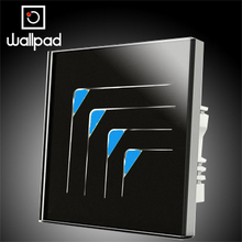 Luxury Light Wallpad intelligent touch wall switch, LED indicator switches,AC 110~250V,4 Gangs 1 Way,