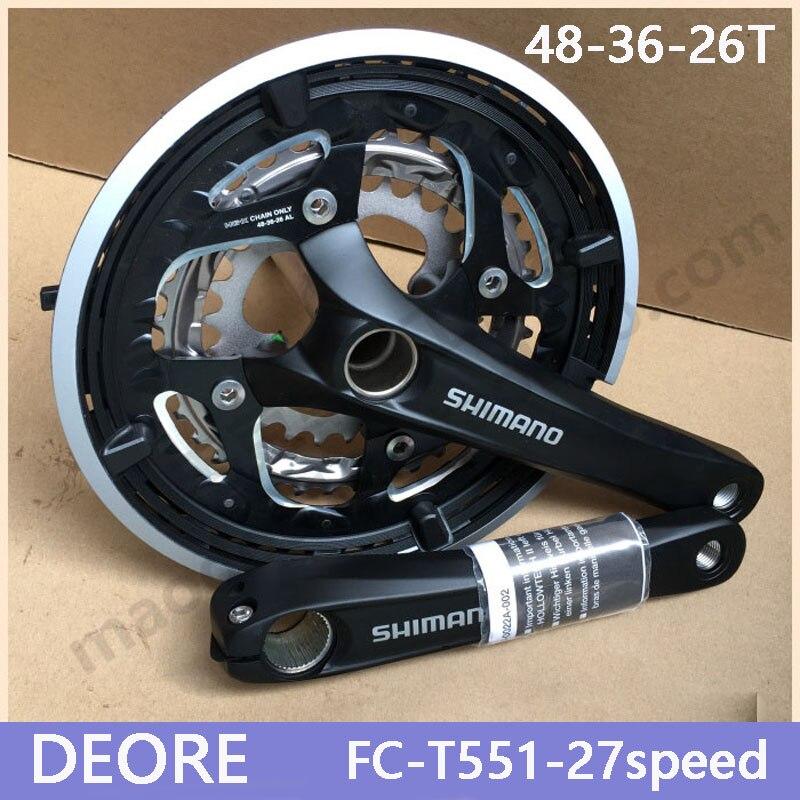SHIMANO Deore FC T551 27S Travel Bicycle MTB Crankset Chain Crankset Bicycle Parts Sprocket 48 36