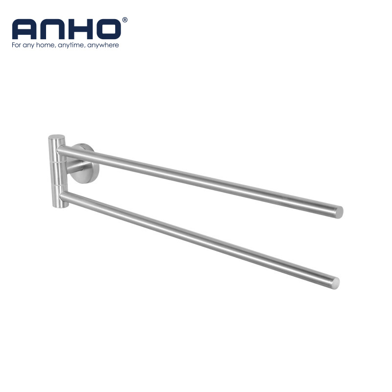 ANHO Stainless Steel Towel Holder Bathroom Racks 2 Swivel Bath Rail Hanger Shelf Rotate Towel Wall-mounted Kitchen Storage viborg deluxe sus304 stainless steel foldable wall mounted bathroom towel rack shelf towel holder storage