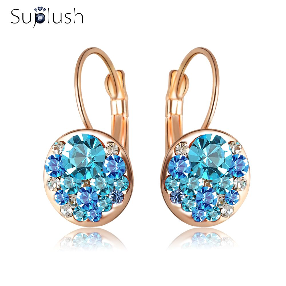 Top Sale Party Chrsitmas Jewelry Fashion Round Earrings Stud Rose Gold Color Austrian Full Crystals Women Earrings ER0118