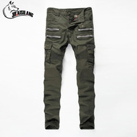 JIKAISILANG Solid Color Jeans Elastic Skinny Jeans Men Brand Casual Green Jeans For Male Pure Cotton