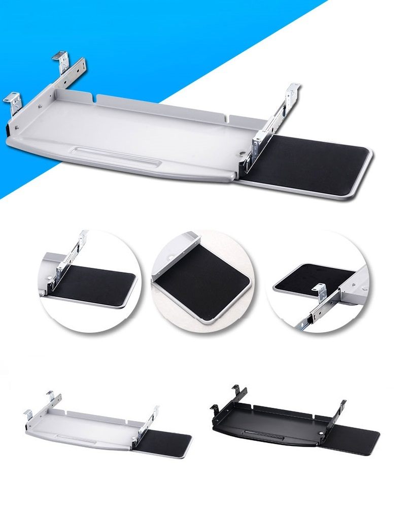 Premintehdw Pull-out Steel PC Keyboard Tray Pull Out with 360 degree rotation mouse tray