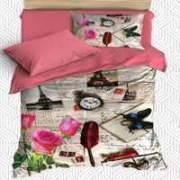 Lot de 4 pièces Vintage Paris tour Rose écriture 3D imprimé Satin de coton housse de couette unique ensemble de literie taie d'oreiller drap de lit