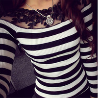 Women Blouse 2017 Autumn Lace Embroidery O neck Long Sleeve Shirts Knitted Black Stripe Tops Casual Slim Blusas Plus Size S-3XL