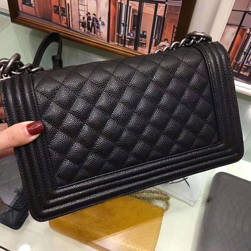 Women leather handbag luxury Chain Plaid 25cm size caviar and lambskin shoulder Le Boy Flap bag women's Bag free shipping все цены