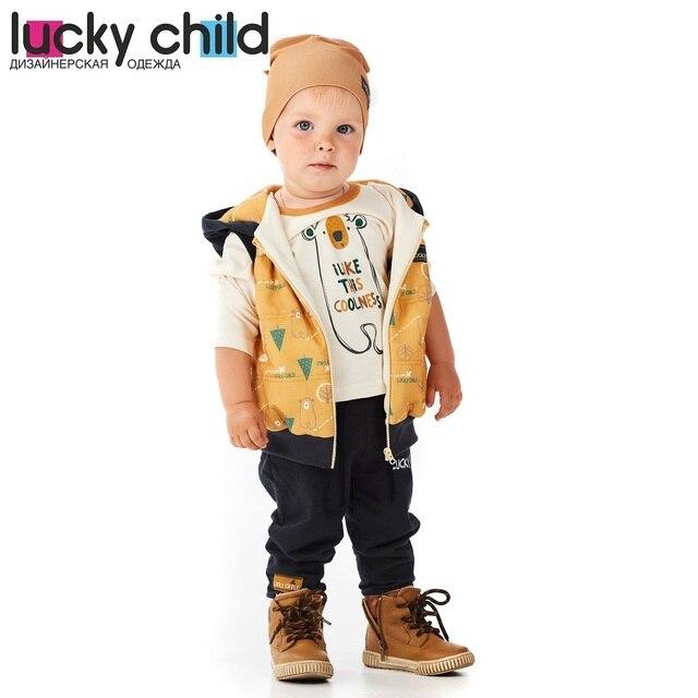 Жилет Lucky Child с начёсом для мальчиков, арт. 63-33f (Зимние каникулы) [сделано в России, доставка от 2-х дней]