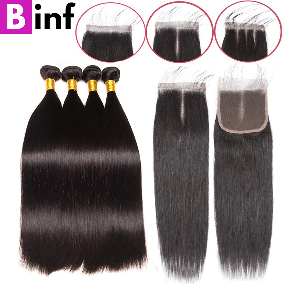 BINF Straight Bundles With Closure Brazilian Hair Weave 3 Bundles With Closure Human Hair Bundles With