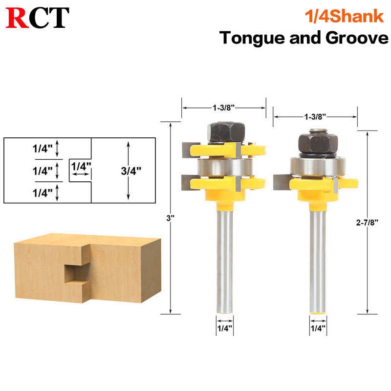 2 Bit Tongue and Groove Router Bit Set - 1/4 Shank - Shaker Woodworking Chisel Cutter Tool-RCT  15212 2pcs tongue