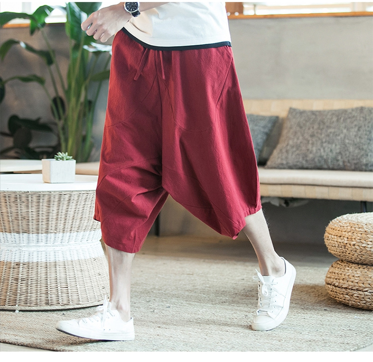 MRDONOO Men Pants Men's Wide Crotch Harem Pants Loose Large Cropped Trousers Wide-legged Bloomers Chinese Style Flaxen Baggy 102