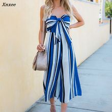New Sexy Women Strapless Bowknot Front Lace-up Jumpsuits Striped Summer Loose Off Shoulder Fashion Rompers Jumpsuit Street Style недорого