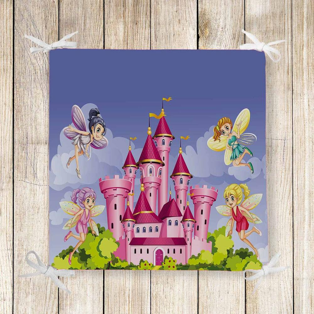 Else Pink Castle Fairy Girls Floral 3d Print Chair Pad Seat Cushion Soft Memory Foam Full Lenght Ties Non Slip Washable Square