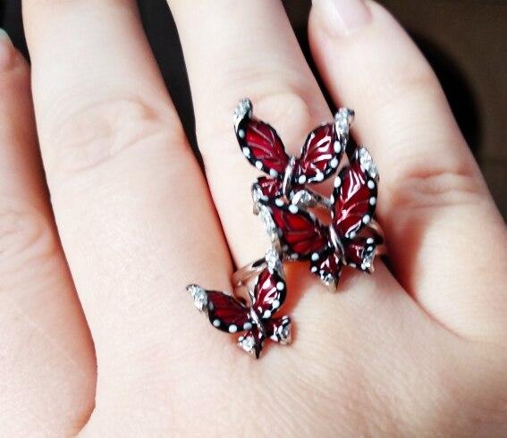 SANTUZZA Red Butterfly Jewelry Set For Woman White CZ Ring Earrings Pendant 925 Sterling Silver Fashion Jewelry HANDMADE Enamel