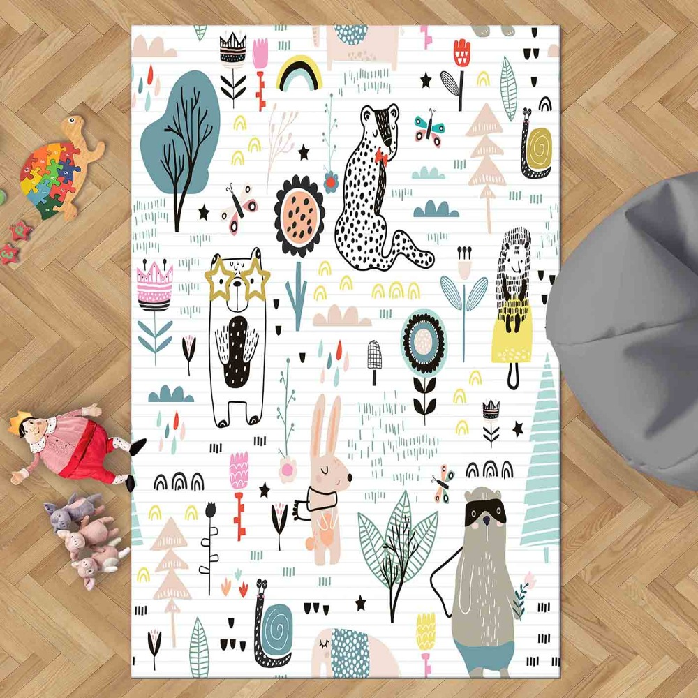 Else Sweet Animals Forest Funny Animals  Jungle 3d Print Non Slip Microfiber Children Kids Room Decorative Area Rug Kids  Mat