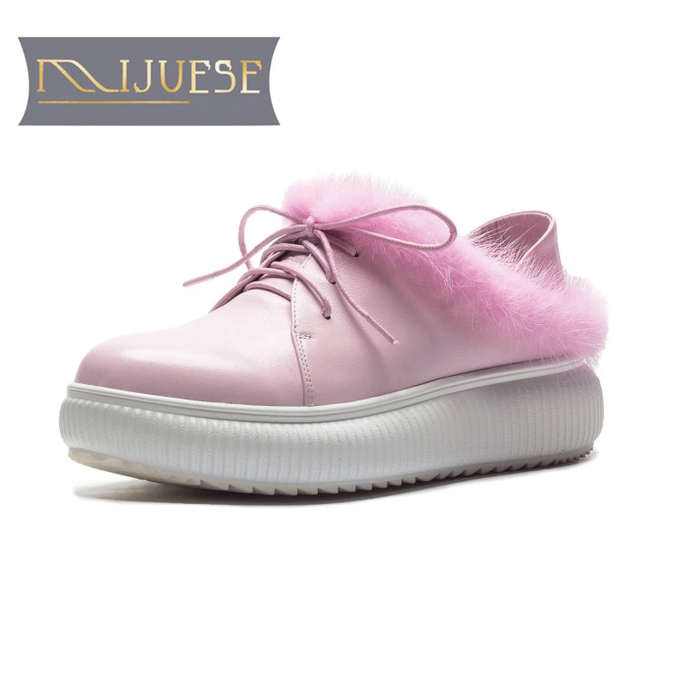 MLJUESE 2019 women ankle boots cow leather +Mane hair lace up pink color winter short plush platform boots women boots