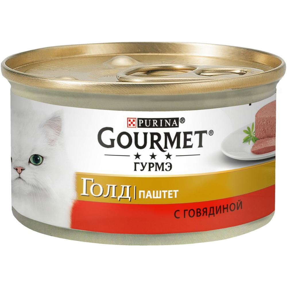 Wet food Gourmet Gold Pate for cats with beef, Bank, 24x85 g.