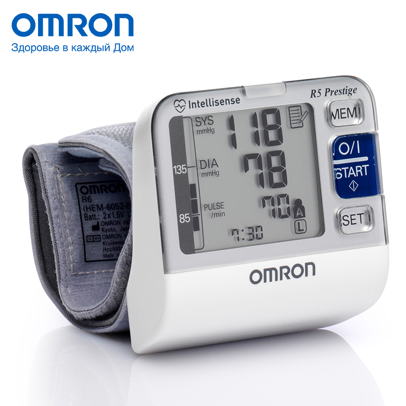 Omron R5 Prestige (HEM-6052-RU) Blood pressure monitor Home Health care Heart beat meter machine Tonometer Automatic Digital health wrist watch laser for blood irradiation therapy for high blood pressure