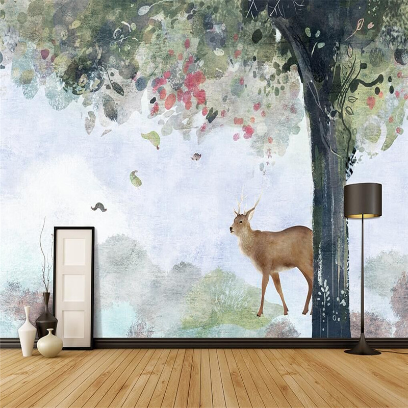 Hand-painted cartoon tree wall decoration painting Custom wallpaper mural