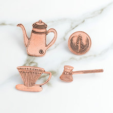 Retro Vintage Tea Brooch Coffee Maker Milk Coffee Cup Hand Rinse Filter Art Jewelry Enamel Pin Badge Coffee Enthusiast Gift(China)
