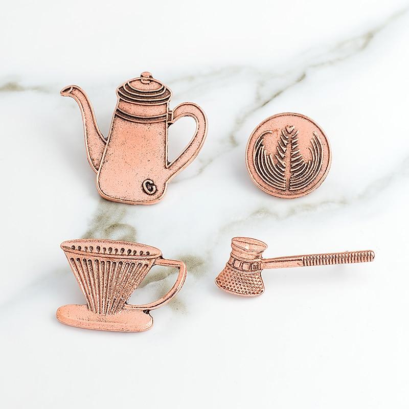 Retro Vintage Tea Set Brooch Coffee Maker Milk Coffee Cup Hand Rinse Filter Art Jewelry Enamel Pin Badge Coffee Enthusiast Gift