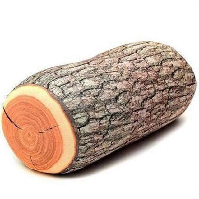 Baru 1 Piece Kayu Log Bantal/Pohon Stump Wood Texture Lempar Bantal Di Mobil Menghias