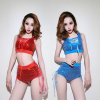 Hip Hop Dance Paillette Colthing DJ Performance Costume Sexy Jazz Team Stage Costumes For Singers 2 PIECES SET Tops Short DWY328