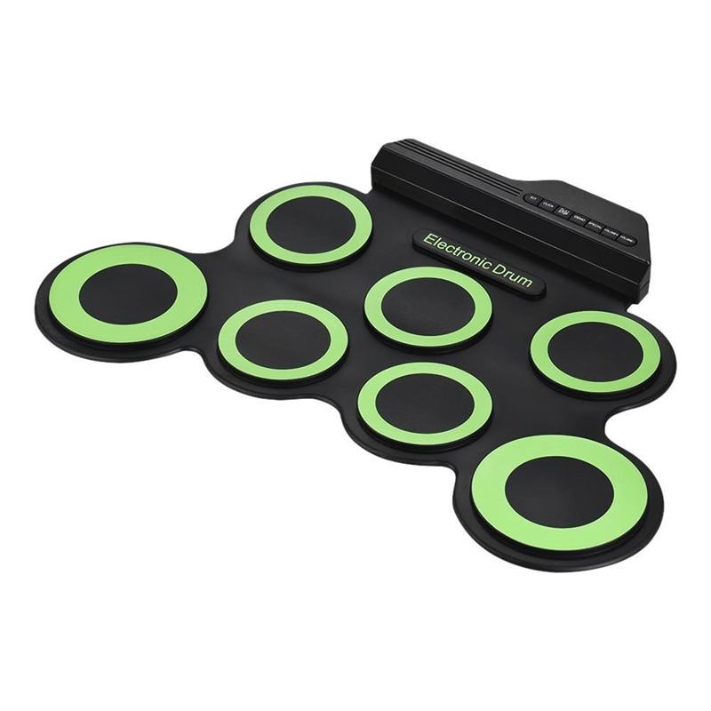 2018 Kit de batterie enroulable électronique numérique Portable de taille compacte 7 tampons de tambour en silicone alimentés par USB avec des pédales de pied de pilons - 5