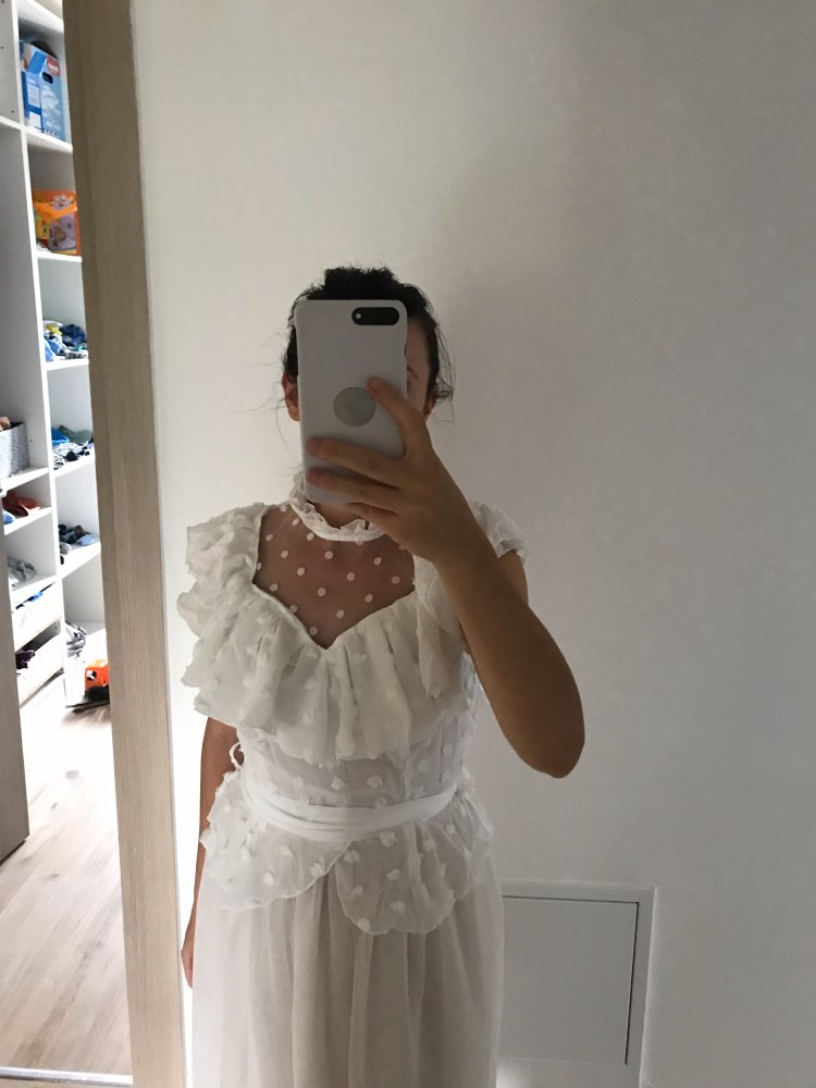 Vintage Victorian Lace White Blouse Women Transparent Mesh Dot Summer Top Chiffon Sash Elegant Femme Shirt Ruffle photo review