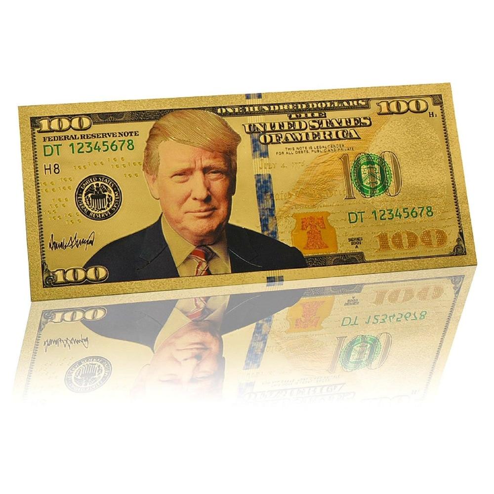10 шт. в упаковке; Принт Дональд Трамп Раскрашенная $100, цена в долларах, золото Фольга банкноты валюты коллекции подарок CA
