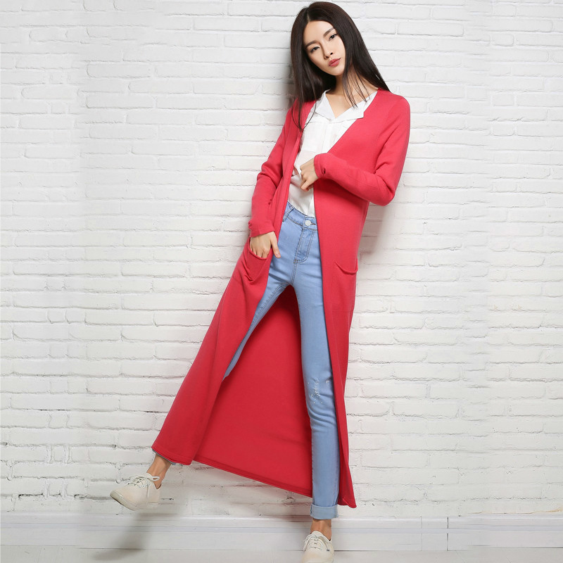 korean fashion new long sweater cardigan women were cardigancoat solid color yellow knit shirt sweater thin hollow section