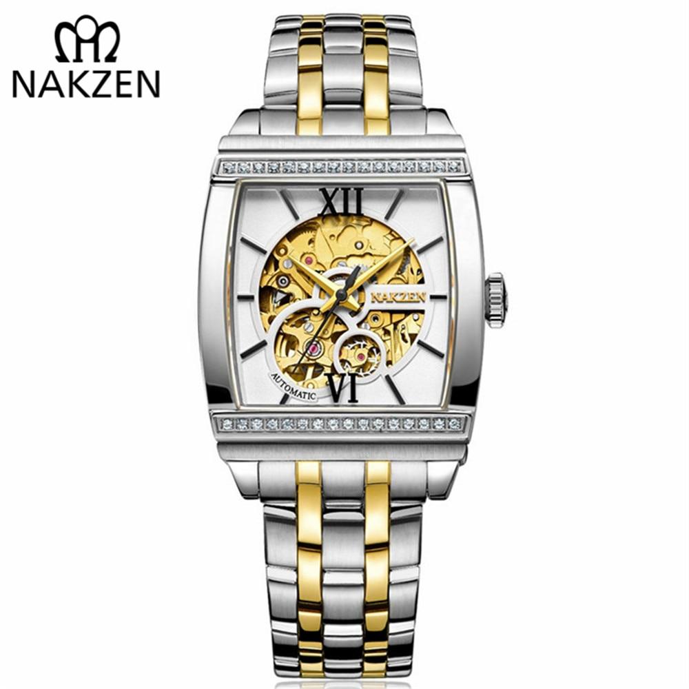 1032e0b49cd NAKZEN Retângulo Relógio Tourbillon Skeleton Automatic Men Mecânica Relógios  Projeto Original Luxo Valioso Relógio Masculino Relógio