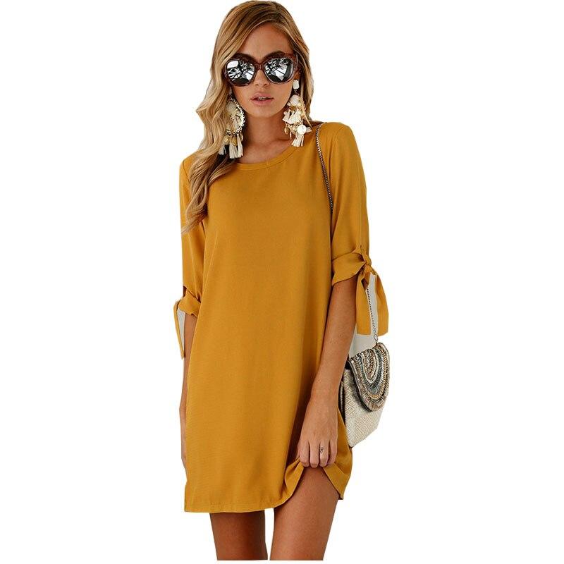 custom color Women dresses 2018 New arroval fashion tie plus size o Neck solid color mini Dress dropshipping vestidos KT1
