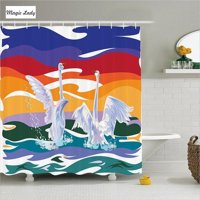 Douchegordijn Schilderen Badkamer Accessoires Swan Paar Zwemmen Zee ...
