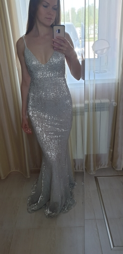 Sexy Silver Sequined Maxi Party Dress Stretch Floor Length Navy Sequins Backless Padded Bodycon V Neck Full Lining Black Dress photo review