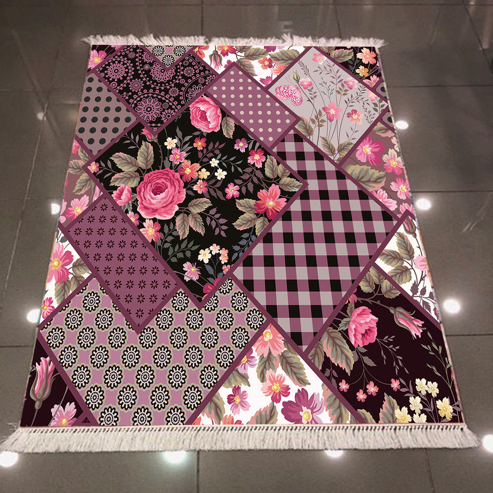 Else Purple Black Roses Flowers Geometric Patchwork Turkish 3d Print Anti Slip Back Washable Decorative Kilim Area Rug Carpet