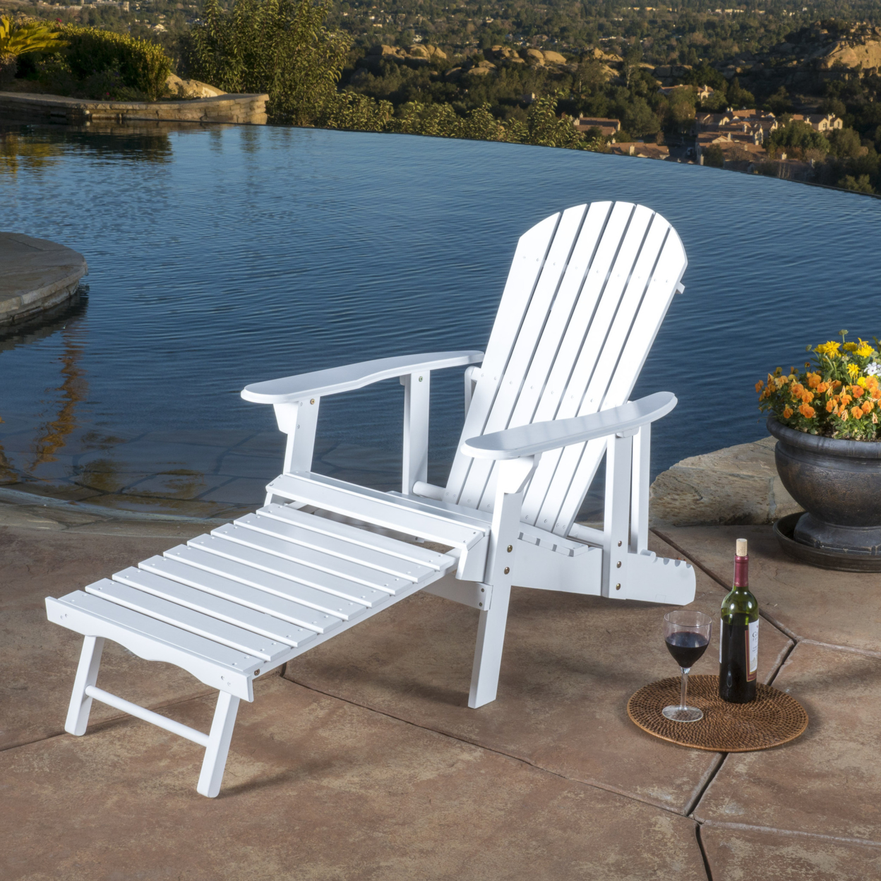 Denise Austin Home Katherine Outdoor Reclining Wood Adirondack Chair with Footrest mds808450 reclining wheelchairs