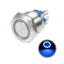 UXCELL Latching Metal Push Button Switch 25mm Mounting Dia 5A 1NO 1NC 12V Blue LED Light Flat Head For Power Led