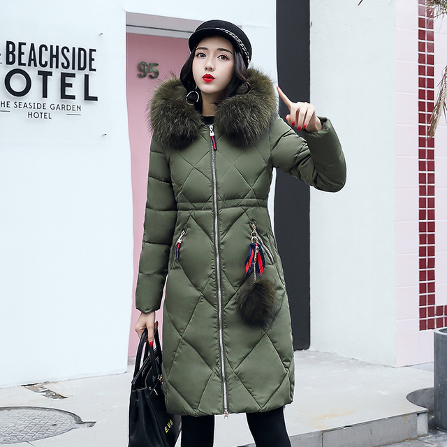 New Winter Thick Hooded Jacket Fur Collar Outerwear Snow Wear Maxi Coat Women White