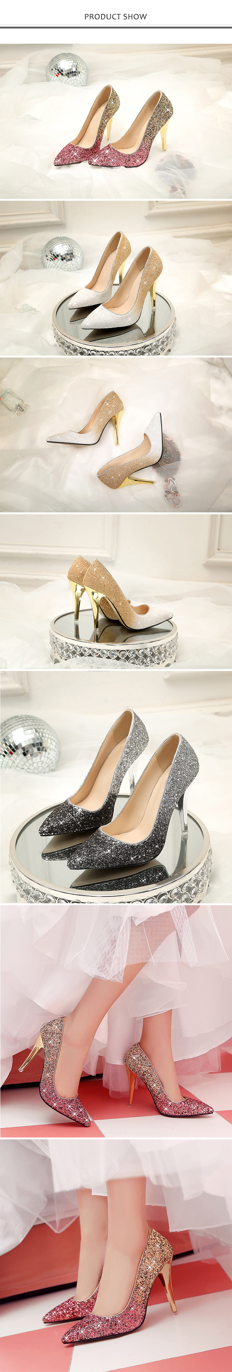 18 New High thin heels shoes women pumps bling wedding Bridal shoes classic 1cm 5.5cm or 8.5cm pointed toe evening party shoes 6