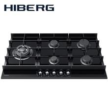 Встраиваемая варочная панель HIBERG VM-9055 B, ширина 90 см, 5 газовых конфорок, чугунные решетки, WOK конфорка, автоматический электро-поджиг, газ на стекле