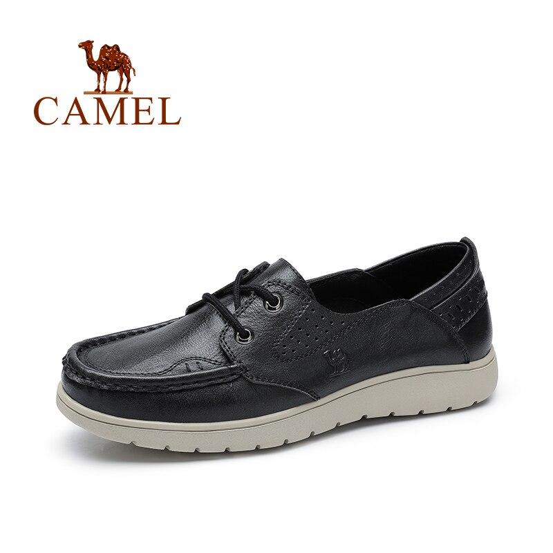KAMEL frauen Schuhe Frühling Sommer Neue Echtem Leder Leicht Komfortable Damen Weiche MD Laufsohle Weibliche Schuhe-in Flache Damenschuhe aus Schuhe bei  Gruppe 1