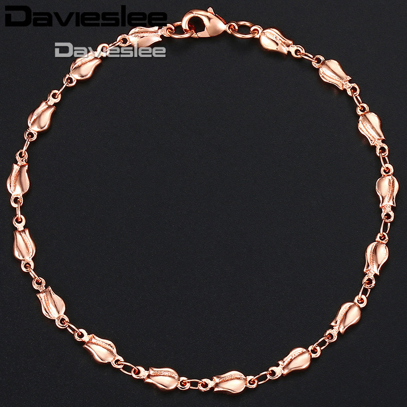 Davieslee Trendy Gift Bracelet For Women 585 Rose Gold Color Tulip Bud Bead Link Womens Bracelet Jewelry 4mm 18cm 20cm GB394A