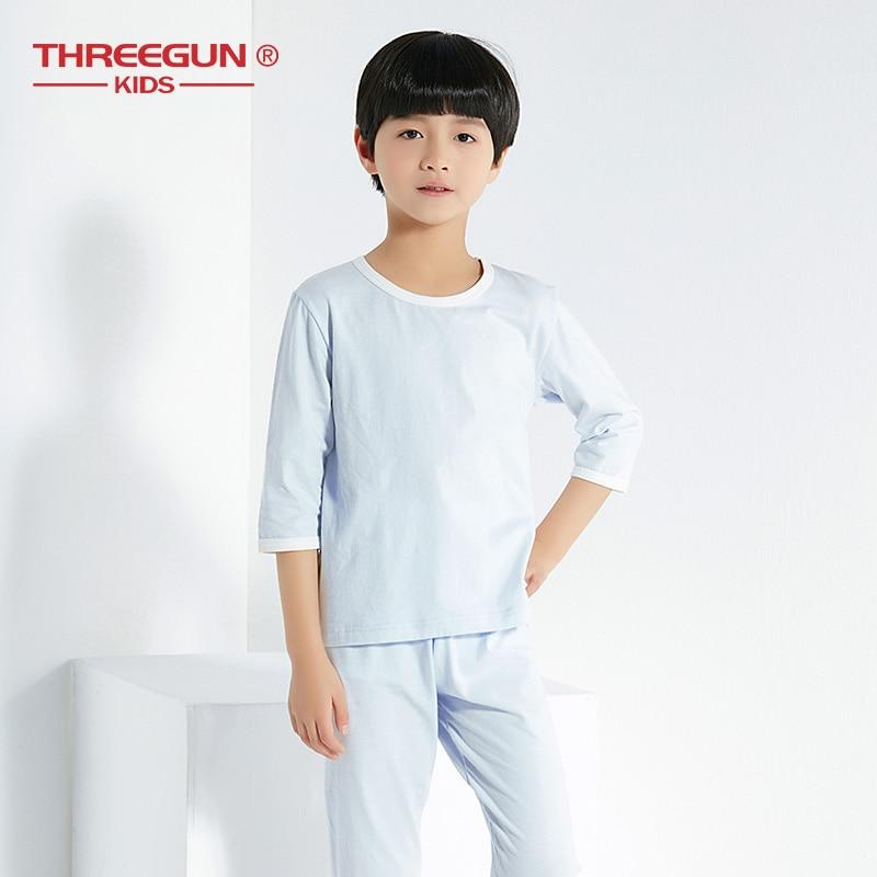 THREEGUN Kids Boy Pajama Sets Spring 2pcs Set Top Pants Children Clothes Cotton Sleepwear Half Sleeve Tracksuit Boys Pajamas in Pajama Sets from Mother Kids